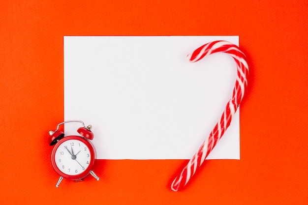 Sheet of paper with candy cane