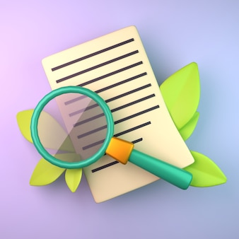 Sheet of paper with magnifier 3d rendering
