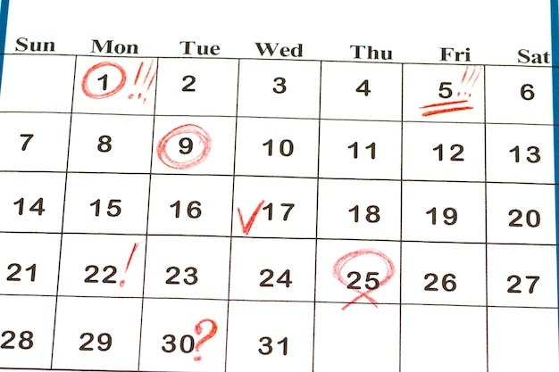 Sheet of wall calendar with red mark on 25 december - christmas.
