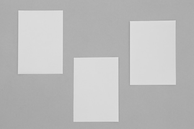 Sheets of paper arrangement above view
