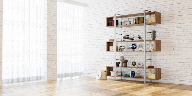 Shelf on brick wall background in the empty room 3d render