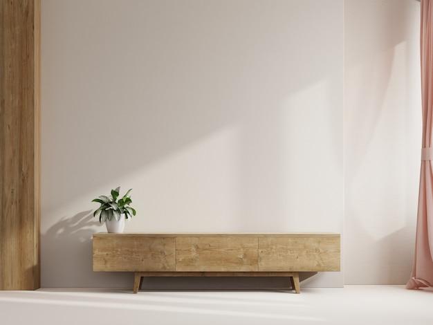 Полка в современной пустой комнате, минималистичный дизайн, 3d-рендеринг