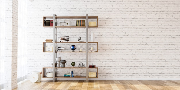 Shelf on mock up brick wall background in the empty room 3d render