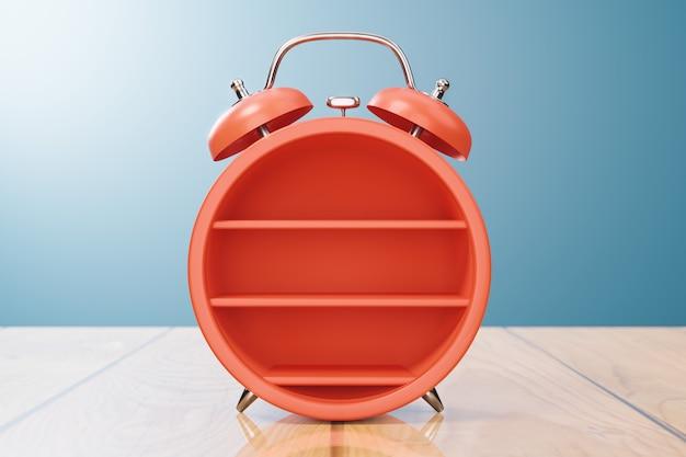 Макет полки реалистичные классические часы оранжевого цвета, книжная полка или продукты