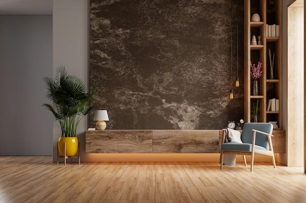 어두운 대리석 벽에 안락 의자와 식물이있는 현대 거실의 선반 tv, 3d 렌더링