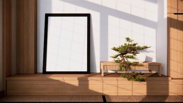 Shelf wall design zen interior of living room japanese style. 3d rendering