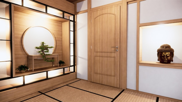 Shelf wall design zen interior of living room japanese style. 3d rendering