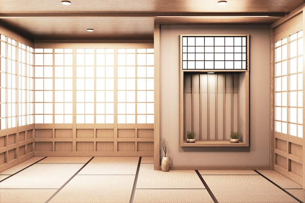 Shelf wall on  living room japanese deisgn with tatami mat floor. 3d rendering