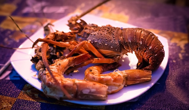 Тарелка моллюсков из ракообразных морепродуктов со свежими омарами, мидиями, креветками на фоне ужина для гурманов