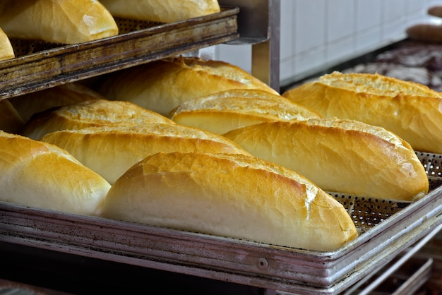 Shelves of french bread