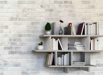 Shelves with books on brick wall. 3D rendering