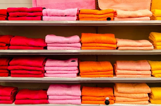Shelves with colorful towels.