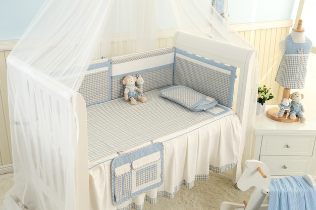 Shelves with hanger in modern baby room