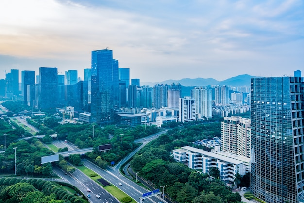Вид города шэньчжэнь, небоскребы, вид с воздуха