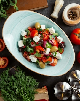 Shepherd salad with olives and white cheese