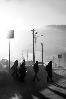 셰레게시, 러시아 - 2018년 12월 4일: 새벽 -29도의 시베리아 도시 셰레게시.
