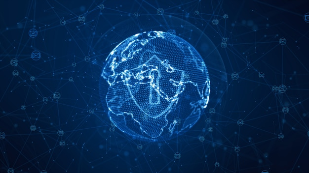 安全なグローバルネットワーク上の盾と電子メールのアイコン