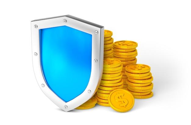 Щит и деньги. концепция защиты денег. изолированные на белом фоне. 3d визуализация.