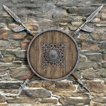 Щит и копья у каменной стены. 3d иллюстрация