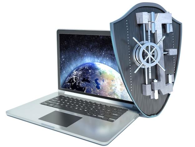 Shield antivirus and laptop on white background