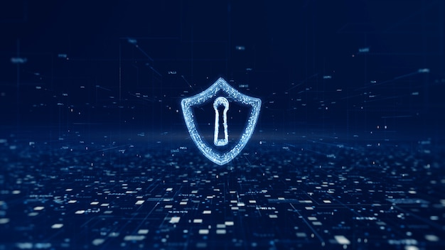 Shield icon of cyber security, digital data network protection