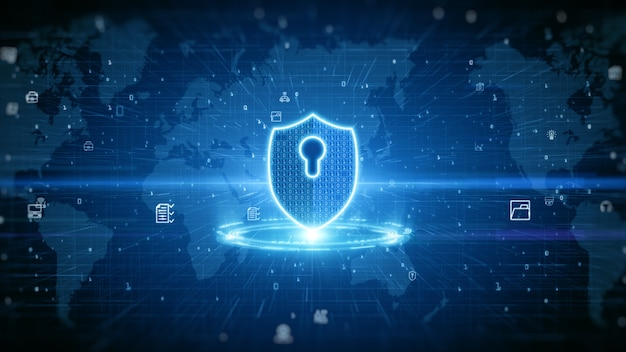 Shield icon of cyber security. digital data network protection