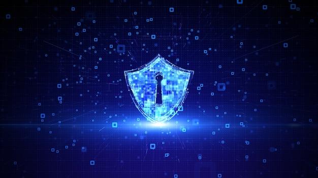 サイバーセキュリティデジタルデータネットワーク保護のシールドアイコン