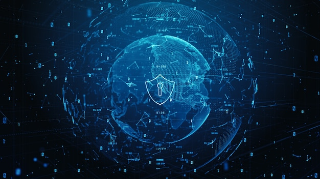 サイバーセキュリティデジタルデータのシールドアイコン