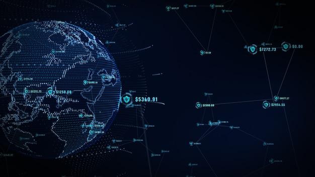 안전한 글로벌 네트워크, 기술 네트워크 및 사이버 보안 개념에 방패 아이콘.