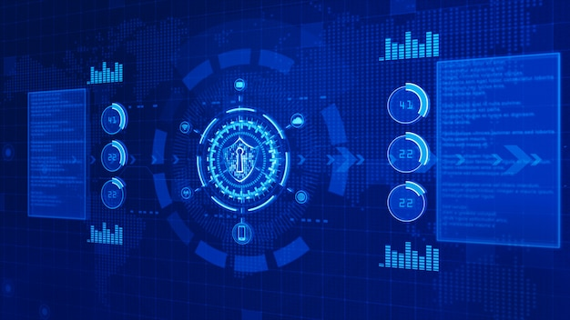 Shield icon on secure digital data, cyber security concept