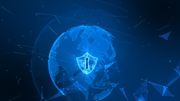 Shield icon on secure global network , cyber security concept. earth element furnished by nasa