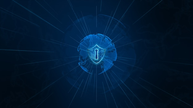 Shield icon on secure global network, cyber security and protection of personal data concept. earth element furnished by nasa