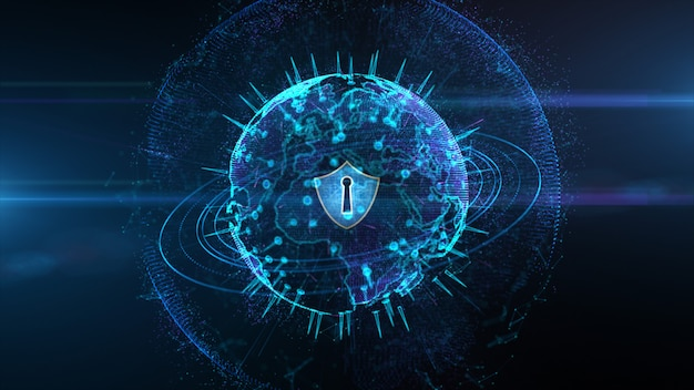Shield icon on secure global network, cyber security and protection of personal digital data concept