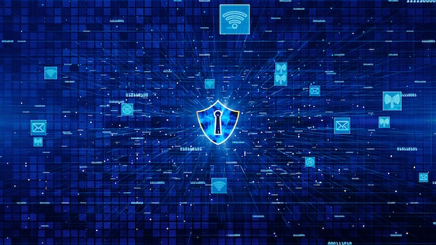 Shield icon and secure network communication, cyber security concept.
