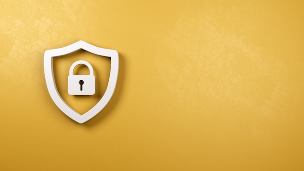 Shield symbol shape with padlock on yellow plastered wall