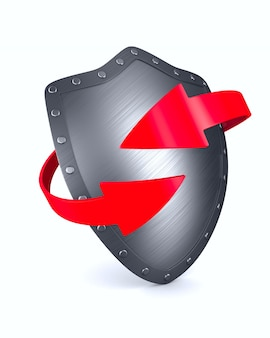 Shield on white surface. isolated 3d illustration