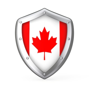 Shield with flag of canada on a white background. 3d rendering