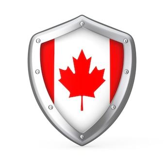 白い背景の上のカナダの旗と盾。 3dレンダリング