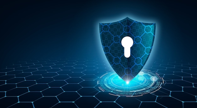 Shield with key inside on blue background the concept of cybersecurity the internet