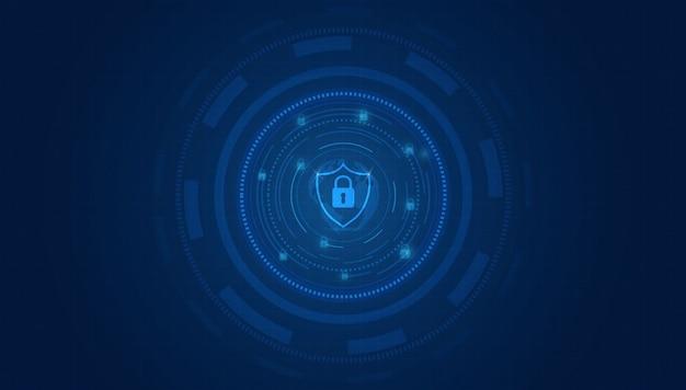 デジタルデータの背景に鍵穴アイコンでシールドサイバーセキュリティの概念