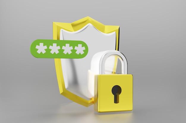 Щит с замком безопасности и защиты символа символа. 3d визуализация.