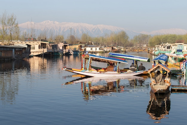 Shikara boat in dal lake kashmir india