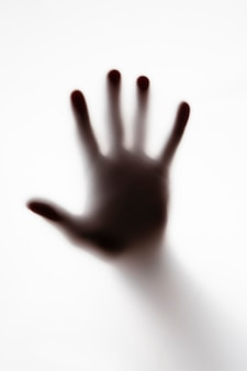 Shillouette of a persons hand on white