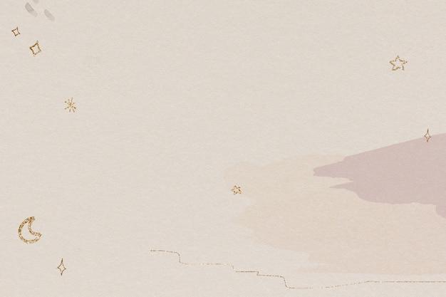 Мерцающий золотой узор луны и звезд на акварели