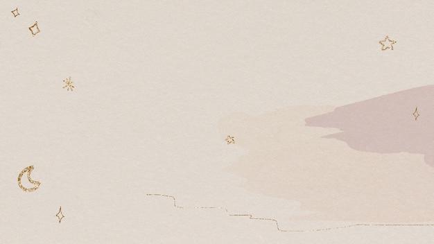 水彩画の背景にきらめく金の星と月