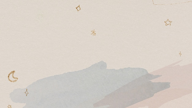 Shimmering gold stars and moon on a watercolor background