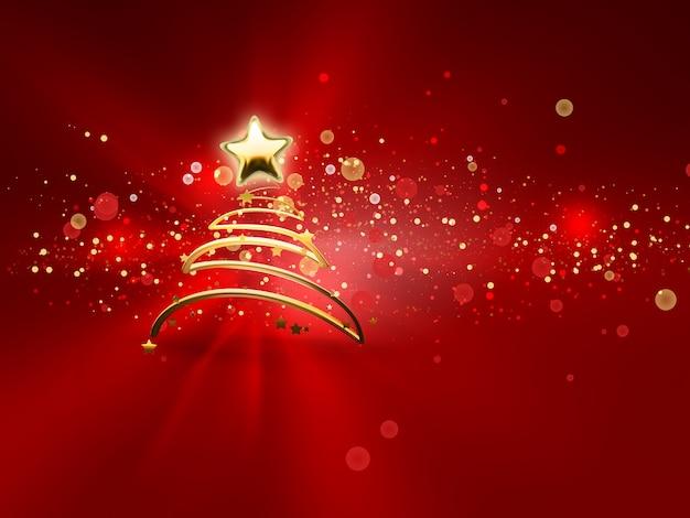 Сияющая новогодняя елка на красном фоне