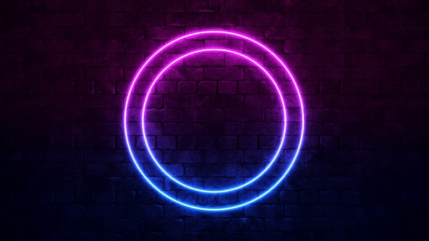 Shining circular neon sign. purple and blue neon frame.