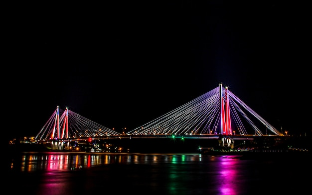 Shining colorful jindo bridge, jindo island, south korea.