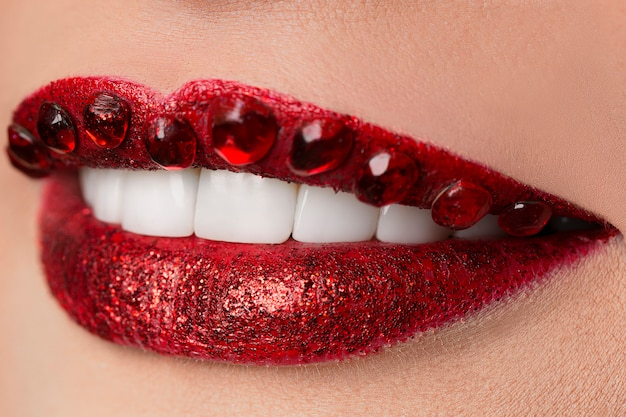 Shining diamond luxury red lips, jewel, crystal, fashion